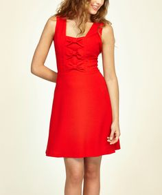 Red Bow Tie-Front Maria Dress | zulily