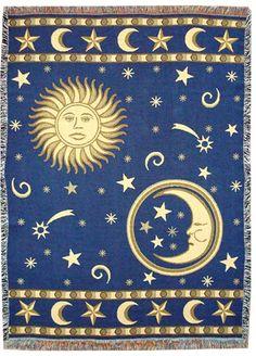 Sun Moon and Stars Throw Blanket