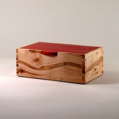 Maple Keepsake Box with Colonial Red Lid. $55.00, via Etsy.