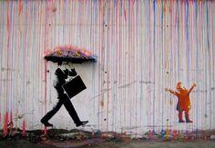 Graffiti Banksy canvas oil Painting Rainbow Rain Man Umbrella wall street Art Urban Custom Stencil Spray by Pepe Banksy Graffiti, Street Art Banksy, Graffiti Kunst, Street Art Utopia, Bansky, Banksy Canvas, Banksy Artwork, Graffiti Wall, Love Graffiti