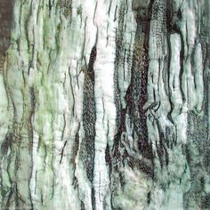 """Untitled from the """"Bark"""" series (c.2008) by British artist Diane Rogers. Printed, embroidered silk textile. via art web"""