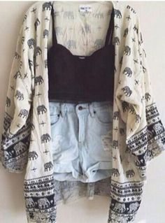shorts high waisted shorts elephant sweater crop tank jacket tank top blouse elephant kimono crop tops summer summer outfits boho boho outfit indie cardigan black and white
