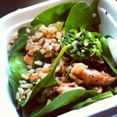 Grilled teryaki salmon salad with broccolini, snow peas, baby spinach, brown rice and quinoa. Gluten free lunch
