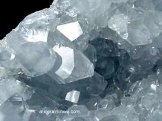Celestite... the beautiful powder blue crystals open channels to the angelic realms, soothes the spirit, promotes serenity, calms the atmosphere.
