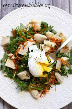 Baby Kale Chicken Salad with Crispy Sweet Potatoes