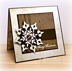 Love this rustic snowflake card:  Rocky Mountain Paper Crafts: