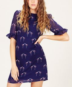 Take a look at this Navy Flamingo Shift Dress by Sugarhill Boutique on #zulily today!