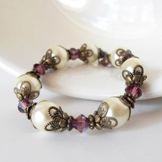 Ivory and Plum Wedding Jewelry Vintage Style by FiveLittleGems