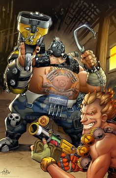 Overwatch coloring commission by TeoGonzalezColors on DeviantArt Roadhog Overwatch, Overwatch Tattoo, Overwatch Drawings, Overwatch Reaper, Junkrat Fanart, Junkrat And Roadhog, Overwatch Wallpapers, Heroes Of The Storm, Gaming