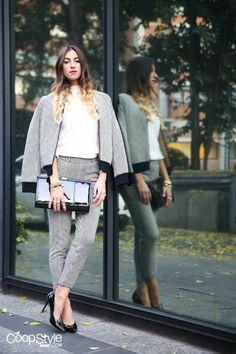 #ValentinaFradegrada www.coopstyle.com in a #Stefanel #FeelMore #pieddepoule #totallook. We love her!  Shop now: http://www.stefanel.com/_/pantalone-jacquard-pied-de-poule.html