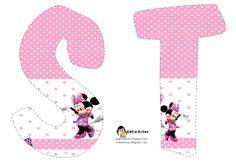 Lindo alfabeto de Minnie saludando, en rosa y blanco. Pink Minnie alphabet. free printables