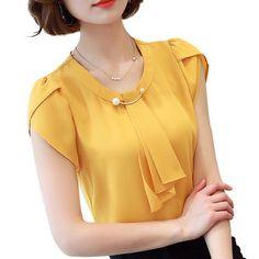 Summer solid chiffon blouse shirt short sleeve shirt women ladies office blouses fashion blusas yellow m Latest Fashion For Women, Womens Fashion, Ladies Fashion, Ladies Outfits, 50 Fashion, Fashion Styles, Fashion Photo, Style Fashion, Fashion Ideas
