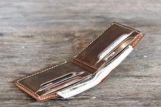 Men's Leather Wallet Minimalist Bifold Groomsmen Gift by JooJoobs
