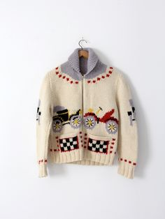vintage 50s novelty print cowichan sweater
