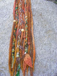 Autumn Leaves Hand Dyed & Felted Wool Dread, Woodland Dreadlock Extensions, Tribal, Hippie Festival Ready To ship