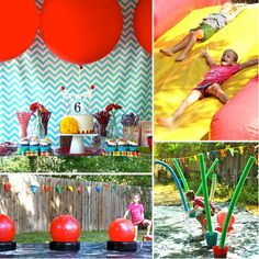 A Wet and Wild Wipeout Party    Inspired by ABC's Wipeout, this water-obstacle-filled party would make any tot smile. With slippery slides, bouncing balls, and plenty of opportunities for getting wet and wild, this party is perfect for kids looking for a way to keep cool.     Source: Brenda Marafioto for Beth and Co.