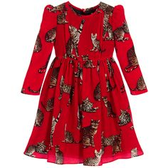 Girls smart red dress by Dolce & Gabbana, featuring a fabulous print of the designer'sBengalcat, known as'Zambia'. Made in luxurious silk, it has puffed sleeves, little gathers from the shoulders and a full, gathered skirt. Fully lined in silky polyester with a lace trim, it has a concealed zip fastener at the back.