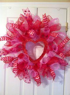 Valentine's mesh wreath by Wreaths4u2byPaula on Etsy, $55.00