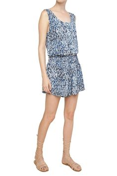 Waterfall print blue and white romper that has a super flattering fit throughout! Relaxed and casual, you will want to throw this on time and time again through out the summer.   Waterfall Print Romper by Splendid. Clothing - Jumpsuits & Rompers - Rompers Wicker Park, Chicago, Illinois