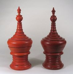 Pair Miniature Burmese Lacquer Offering Bowls, early to mid 20th century, from the Pagan region of Burma, now Myanmar. These Hsun-ok are the most graceful lacquerware, used to present offerings at the Buddhist temple. These are slightly different in hue, one from the other.
