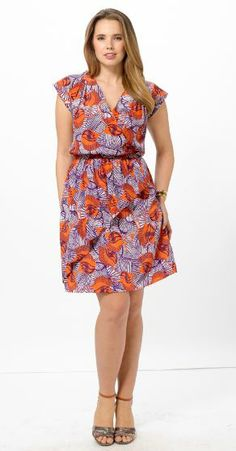 Abstract Printed Cascade Dress by Postcards,Available in sizes 10/12,14/16,18/20,22/24,26/28 and 30/32