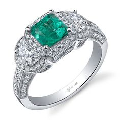 Brides.com: . 18k white gold and diamond ring with emerald center stone, Style SY474S, Sylvie Collection See more square-cut engagement rings.