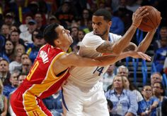 Oklahoma City's D.J. Augustin (14) looks to pass around Houston's Pablo Prigioni (9) during the NBA basketball game between the Oklahoma City Thunder and the Houston Rockets at the Chesapeake Energy Arena, Sunday, April 5, 2015, in Oklahoma City. Photo by Sarah Phipps, The Oklahoman