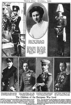 An interestingly presented article from the October 1914 issue of Vanity Fair.  Here we see the six sons and daughter of Kaiser Wilhelm II and simply whom they are married to and some of their military connections.
