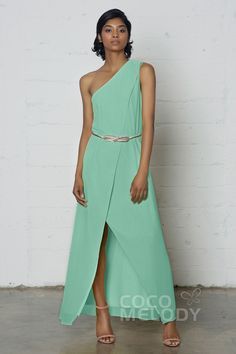 Modern Sheath-Column One Shoulder Natural Ankle Length Chiffon Sleeveless Side Zipper Sashes and Split PR17021#Cocomelody#partydresses#promdress#