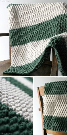 Green and white bring to mind snow-covered evergreens, right? Now you can make your own forest and keep it close! This lovely blanket is available as free pattern. Stitch Patterns, Knitting Patterns, Easy Knitting, Knitting Ideas, Crochet Stitches For Blankets, Easy Crochet Blanket Patterns, Blanket Crochet, Blanket Stitch, Crochet Patterns For Beginners