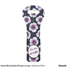 Sweet Blue Garden Flowers on any Color any Text Vine Tote