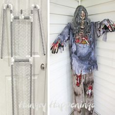 Hungry Happenings: Build a Halloween prop using a costume and pvc plus a costume.  Perhaps some Pool noodles in place of some of the Chicken wire.....