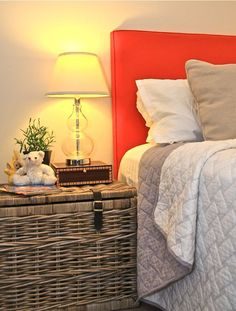 Orange bedhead / headboard with piping
