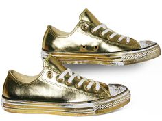 Converse All Star Chucks Ox Chrome Leather Gold / Gold Weiß  549653C