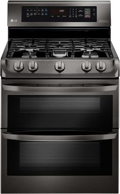 LG 30 Inch Freestanding Double Oven Gas Range with 5 Sealed Burners, ProBake Convection Oven, Conventional Oven, Griddle, BTU UltraHeat Burner and EasyClean Self-Cleaning: Black Stainless Steel Cooking Supplies, Fun Cooking, Retro Appliances, Kitchen Appliances, Galley Kitchens, White Appliances, Kitchen Gadgets, Kitchen Cabinets, Freestanding Double Oven