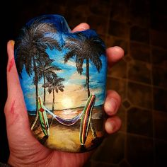 Rock painting for the night #art #paint #artrocks #rockpainting #beach #surf