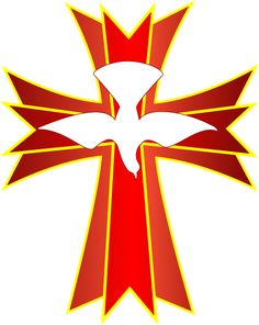 Here's something for Pentecost. A descending dove symbolizing the Holy Spirit over a stylized cross in color red which is also symbolic of t. Church Banners Designs, Church Design, Christian Symbols, Christian Art, Religious Symbols, Religious Art, Catholic Confirmation, Confirmation Cakes, Première Communion
