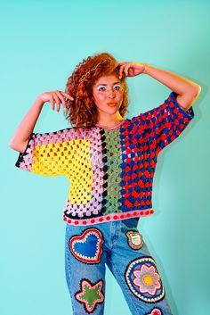 Moda Crochet, Crochet Granny, Crochet Stitches, Crochet Jumper, Crochet Cardigan, Knit Crochet, Crochet Tops, Crochet Clothes, Diy Clothes
