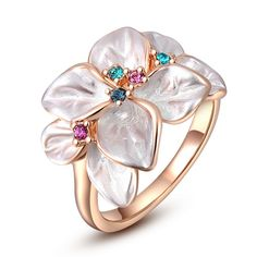 Christmas jewelry ring rose gold Austrian crystal white enamel flowers female ring wedding ring free shipping #Affiliate