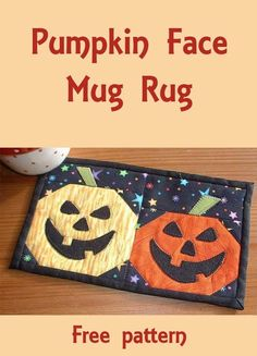 Pumpkin Face Mug Rug - free pattern for this and many more in the Halloween roundup!