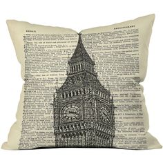 Dot & Bo Londoner Outdoor Throw Pillow ($28) ❤ liked on Polyvore featuring home, outdoors, outdoor decor, big ben clock and graphic throw pillows