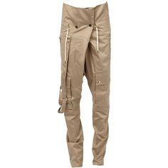 Balmain tapered trousers ($1,120) ❤ liked on Polyvore featuring men's fashion, men's clothing, men's pants, men's casual pants, beige, mens tapered pants, mens cotton drawstring pants, mens cotton pants and mens drawstring pants