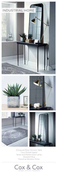 Add an edge to your interior look with slender black frames, brass lighting and faux concrete.
