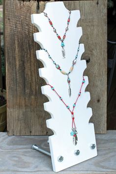 "Multi Tiered Necklace display, 22"" tall and 7.25"" wide, weighted for heavy winds, Industrial look"