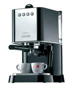 Black Gaggia New Baby Espresso Machine by Gaggia---  Babies don't drink espresso!  Haha... I need more coffee.