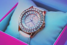 Betsey Johnson rhinestone watch, pink, jewelry. Only if I could wear something so shiny!