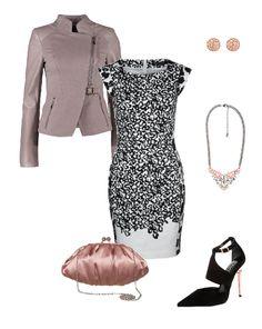 Look de celebración para mujer. http://stylabel.com/style/pink-black-style/345 Incluye vestido estampado en blanco y negro, cazadora en color rosa empolvado, clutch rosa satinado, sandalia con alto tacón, collar y pendientes a juego.