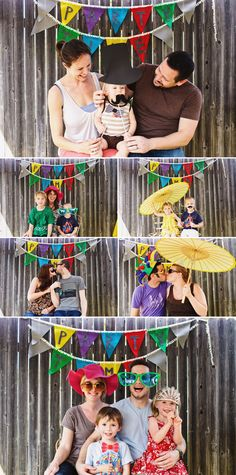 """photo booth"" for kids' b-day parties... cute!"