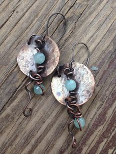 Abstract Swirly hand forged copper earrings