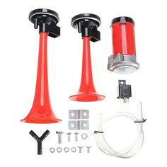 12V Twin Loud Trumpet Air Horn Set with Compressor Car Boat Truck. Specification:  color: Red  weight: 740g  material: Plastic Body  length: Large Horn: 210mm, Small Horn: 160mm     fitment:   suitable For All 12v Vehicles Such As Cars,boats,trucks,tractors,vans.    package Included:      1 X Tube  1 X Relay    1 X Large Horn  1 X Small Horn    1 X Compressor  1 X Junction Fixing Nuts And Bolts